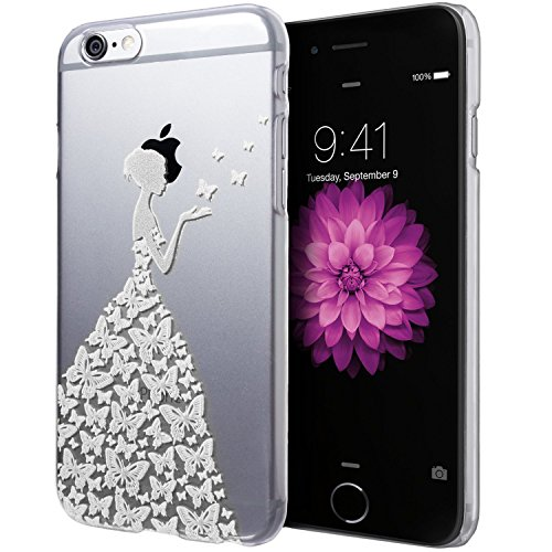 iPhone 4/4S/4G case,Fashion Hard Butterfly Dress Girl Design Princess Pattern Premium Scrub Translucent PC Cover Apple iPhone 4/4S/4G(white)