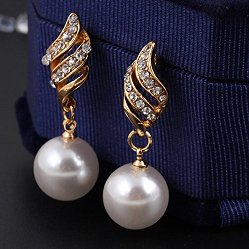 Twinsmall Princess Bridal Jewellery Set Spiral Shaped Pearl Ball Stud Earrings& Necklace (Gold)