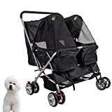 KARMAS PRODUCT 4-Wheel Double Pet Stroller Cat Dog Walk Travel Folding Carrier for 2 Pets Larger Image