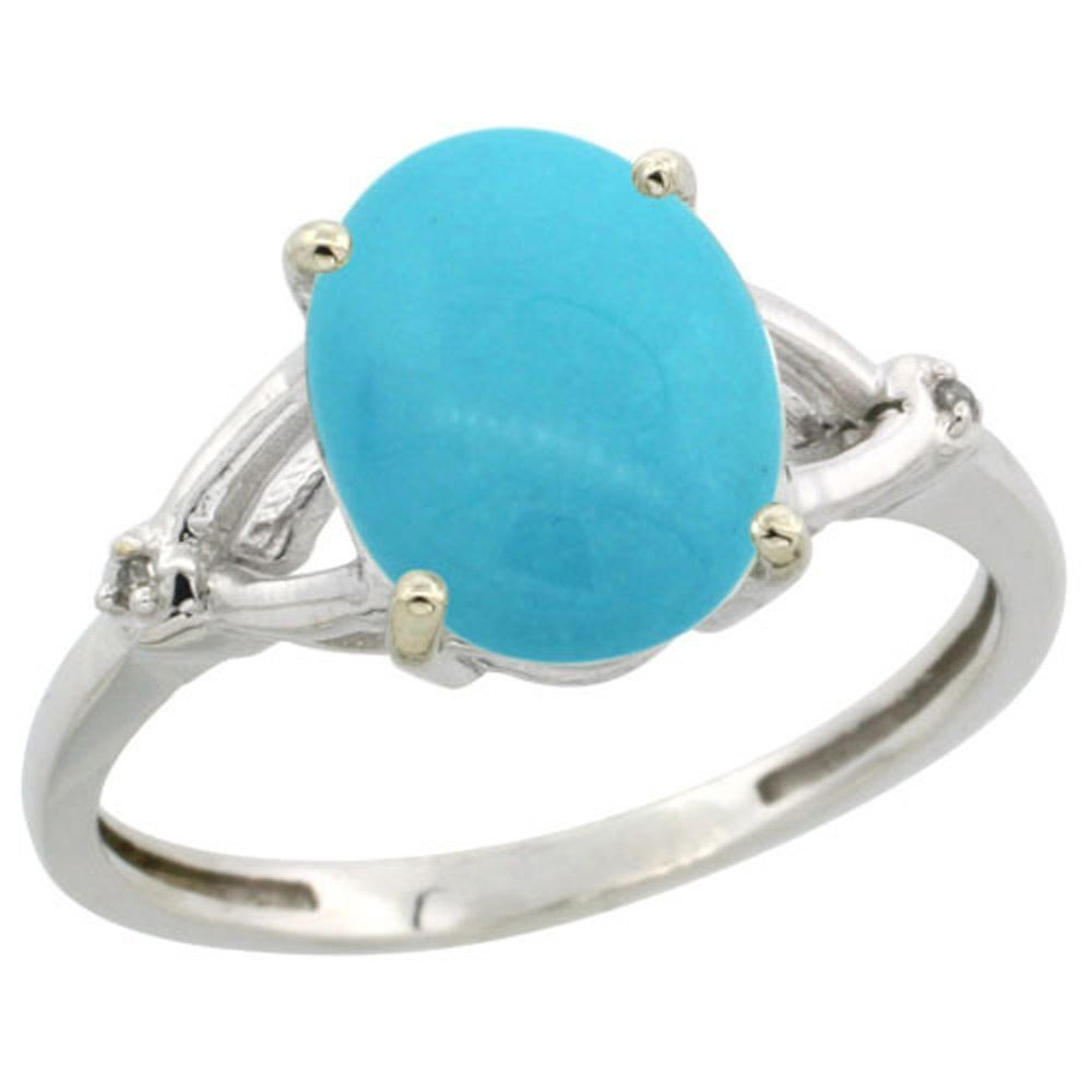 Sterling Silver Diamond Sleeping Beauty Turquoise Ring Oval 10x8mm, 3/8 inch wide, size 7
