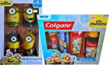 Minions Children's Bathroom Hygiene Gift Set Includes Minions 4 Fun Scents Body Washes, Minions Colgate Set Includes Toothbrush, Toothpaste, Fluoride Rinse Make Brushing Fun !