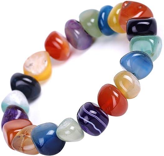Aiuin - Pulsera de piedras naturales irregulares, colores translúcidos aleatorios, regalo para mujer, con cadena, regalo de cumpleaños, Navidad, San ...