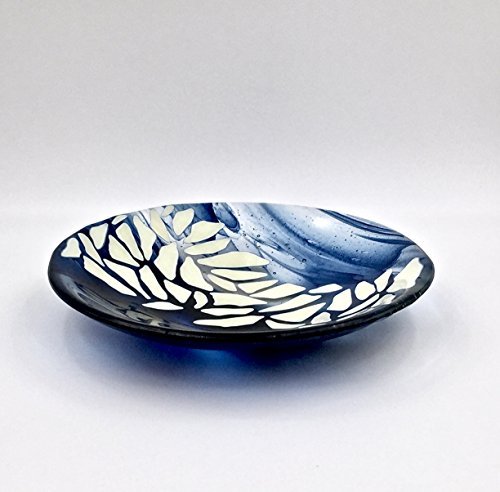 Handcrafted Fused Glass Decorative Bowl in Navy Blue and Ivory 51D1YHLdNjL