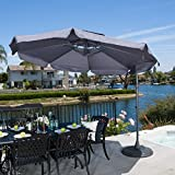 Tahiti Outdoor Grey Cantilever Patio Canopy Umbrella & Base
