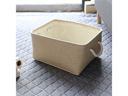 Gelaiken Lightweight Square Hand Storage Box Cotton and Linen Box Jewelry Stationery Cosmetic Case Sundries Storage Box(Light Brown) by Gelaiken