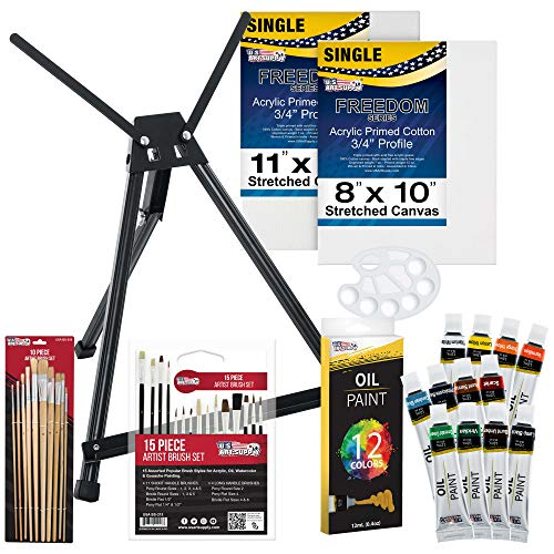 U.S Art Supply 42-Piece Oil Painting Set with Aluminum Tabletop Easel, 12 Oil Paint Colors, Stretched Canvas, Brushes…
