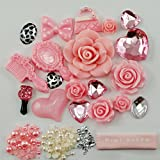 Mini kitty- DIY Pink flowers Mirror series of dimensions of love pearl bow bag Kawaii Cabochon Deco Kit / Set ,cellphone diy for iphone 4 4S ,iphone 5 5c 5G,iphone 6 iphone 6 plus for samsung note 4 samsung s5 mini s5 i9600 for samsung galaxy s3 i9300 ,samsung galaxy s4 i9500 note4 for nokia for motorola for htc for sony ,etc (Phone shell is not included, only DIY material contained)+ free microfiber cloth Valentine's Day Lovers Easter best unique creative cool gift