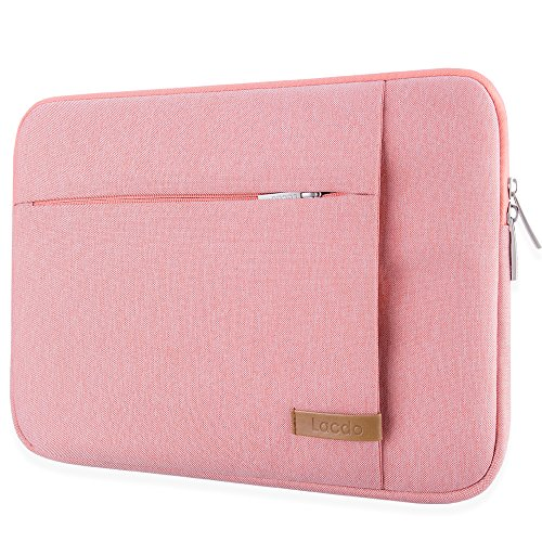 Lacdo 12.9 – 13 inch Laptop Sleeve Case for 13 Inch New MacBook Pro Touch Bar 2017 & 2016 | 12.9 Inch iPad Pro 2017 | Surface Laptop 2017, Shockproof, Water Repellent, Tablet Notebook Bag, Pink