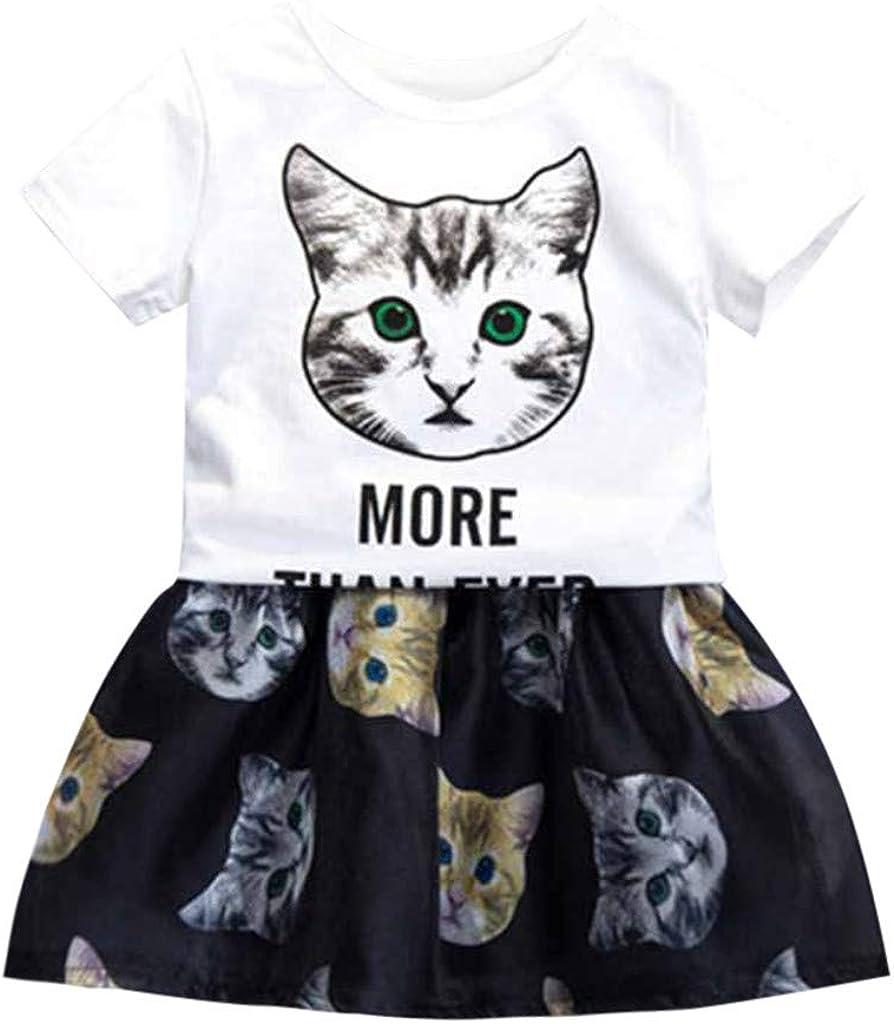 JUTOO Niños pequeños para bebés Ropa para niña Ropa Gato Letra ...