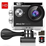 Dragon Touch 4K EIS Action Camera 16MP Vision 4 Support External Mic Underwater Camera Remote Control WiFi Sports Camera with 2 Batteries and Mounting Accessories Kit