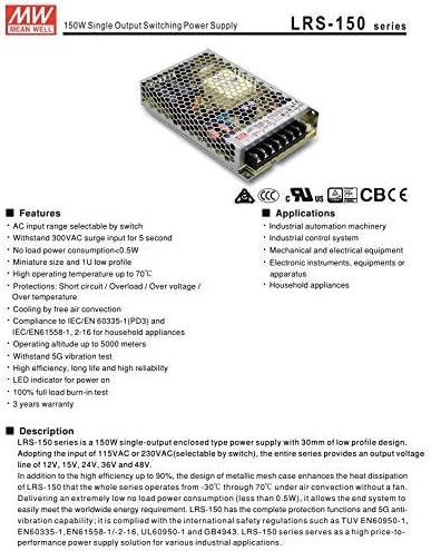 KingLed MeanWell Fuente de alimentaci/ón Meanwell Modelo LRS-100-24 100W 24V Transformador Switching Mean Well NO resistente al agua IP20 para Tiras LED c/ód.1985