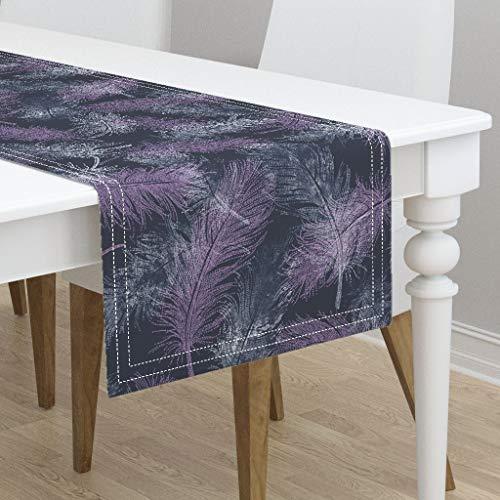 Table Runner - Birds Feathers Bird Feather Nature Navy Dot Art Orchid and Navy by Lavish Season - Cotton Sateen Table Runner 16 x 72