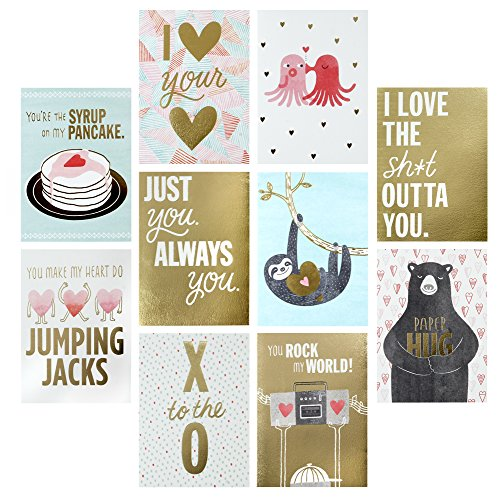 Hallmark Studio Ink Valentine's Day Greeting Card Assortment (10 Cards/Designs, 10 Envelopes Gold and Pastels)