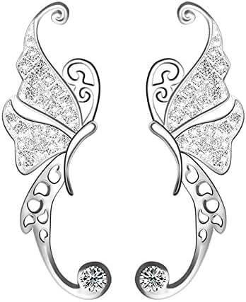 Mariafashion Ear Crawler Cuff Earrings Sterling Silver Ear Climber Butterfly Diamond Zircon Stud Earrings