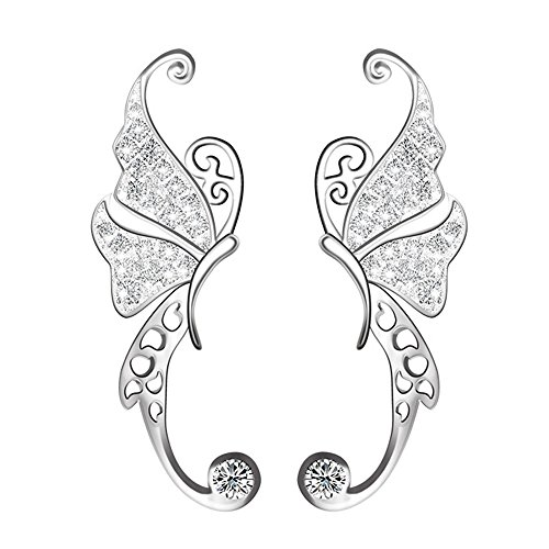 Ear Crawler, Mariafashion Cuff Earrings Sterling Silver Ear Climber Butterfly Diamond Zircon Stud Earrings (butterfly ear ()