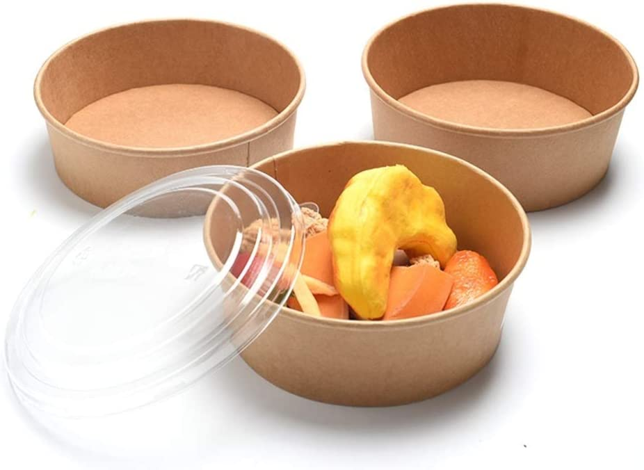 38 Oz 100 Pack Paper Bowls Disposable - Food Containers with Lids - Eco Friendly Microwavable Kraft Paper Bowls with Secure Clear Lids - Bowls for Hot And Cold Food, Soup, Salad, Restaurants