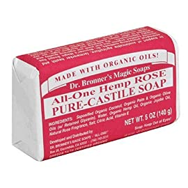 Dr. Bronner's Pure-Castile Bar Soap – Rose - 5 Ounce Bars - 6 Pack 55 ROSE.  Floral and fresh, with a hint of sweetness - our Rose Pure-Castile Bar Soap is made with certified fair trade ingredients and organic hemp oil for a soft, smooth lather that won't dry your skin GENTLE SOAP. This moisturizing bar soap offers organic and vegan ingredients for a rich, emollient lather. It is ideal for washing your body or face. With no synthetic detergents or preservatives, you can nourish your skin with every wash MULTI-USE. This multi-use bar soap can be used on its own as a traditional body or face scrub, or you can dilute it in various recipes for anything from a pest spray to laundry wash. This gentle, yet powerful soap is the ultimate multi-use cleaner
