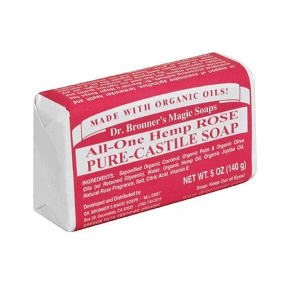 Dr. Bronner's - Pure-Castile Bar Soap (Rose, 5 ounce, 6-Pack) - Made with Organic Oils, For Face, Body and Hair, Gentle… 1 MOISTURIZING LATHER THAT WON'T DRY YOUR FACE, BODY, OR HAIR: Our bar soaps produce a rich lather that won't dry out your skin! Dr. Bronner's is made with only the purest certified organic oils and will leave your skin feeling soft and smooth. MADE WITH ORGANIC OILS THAT ARE GENTLE and EFFECTIVE: We don't add any chelating agents, dyes, whiteners, or synthetic fragrances—only all-natural, vegan ingredients that are gentle, effective, and mild. Use on your face, body, or hair! NO SYNTHETIC PRESERVATIVES, DETERGENTS, OR FOAMING AGENTS: Our Pure-Castile Bar Soap is made with plant-based ingredients you can pronounce—no synthetic preservatives, thickeners, or foaming agents—good for the environment and great for your skin!