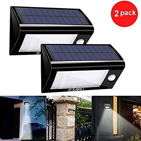 Solar Powered Security Floodlights- Set of 2- Motion Activated Lights- Wireless Outdoor Light- 32 Ultra Bright LEDs- Peel and Stick- Best for Patio, Garden, Path, Pool, Yard, Deck (Black) (Stair Wedge)