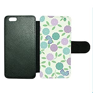 LJF phone case Case Fun Case Fun Purple & Green Roses Faux Leather Wallet Case Cover for Apple iPhone 6 4.7 inch