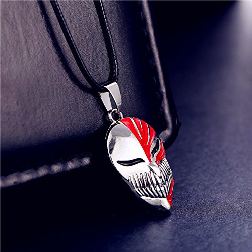 usongs Animation around Kurosaki Ichigo Bleach anime virtual mask necklace pendant men and women (Bleach Ichigo Kurosaki Necklace)