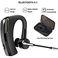Bluetooth headset, Wireless Earpiece with Mic, In-Ear Headphones Earpiece, 8Hrs Talk Time,Handsfree for Business/Trucker Driving, Support iPhone Android Cellphones +Portable Plastic Case, Black