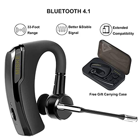 Bluetooth headset, Wireless Earpiece with Mic, In-Ear Headphones Earpiece, 8Hrs Talk Time,Handsfree for Business/Trucker Driving, Support iPhone Android Cellphones +Portable Plastic Case, - Bluetooth Headset Compatible