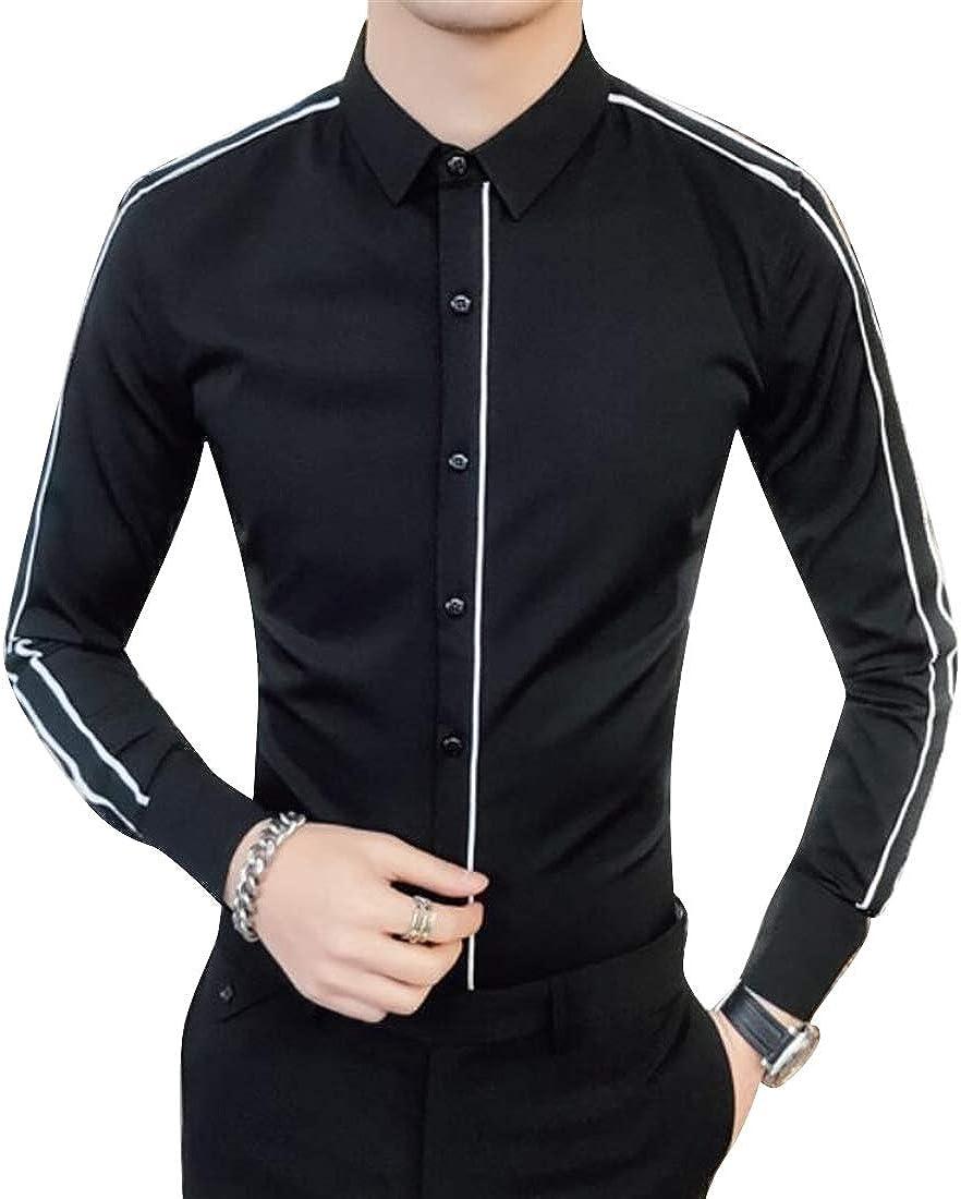 ARTFFEL Mens Floral Print Long Sleeve Slim Fit Turn Down Collar Trendy Button Down Dress Work Shirt