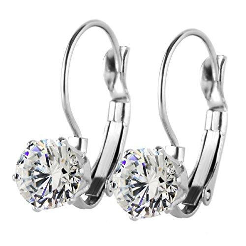 Cubic Zirconia Stainless Steel Earrings (Fashion Stainless Steel Bling Bling Cubic Zirconia CZ Dangle Drop Earrings, Hypoallergenic)