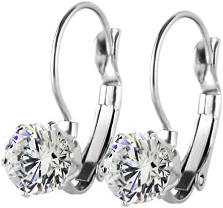 Fashion Stainless Steel Bling Bling Cubic Zirconia CZ Dangle Drop Earrings, Hypoallergenic