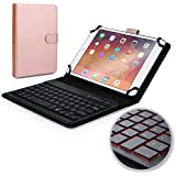 Cooper Backlight Executive Keyboard case for 7-8'' inch Tablets | 2-in-1 Bluetooth Wireless Backlit Keyboard & Leather Folio Cover | 7 Color LED Keys, 100HR Battery, 13 Hotkeys, Universal, Rose Gold