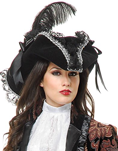 Deluxe Black and Silver Velvet Adult Costume Pirate Hat with Feather and Ribbon