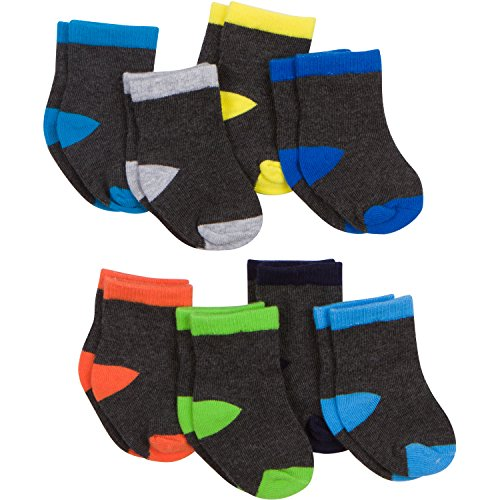Gerber Baby 8 Pack Snug-fit Crew Sock, Color Block, 6-12 Months