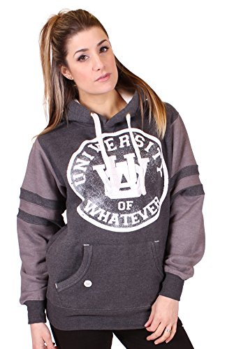 University of Whatever - Hoodie - Women - Varsity (Unisex M Varsity Black Melange W101) (Sweters Real Madrid)