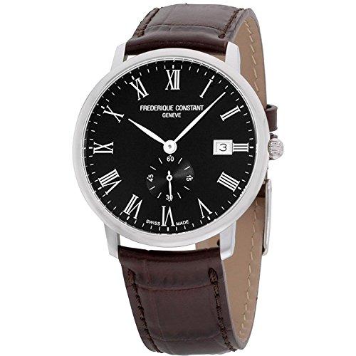 Frederique Constant Slimline Black Dial Leather Strap Men's Watch FC245BR5S6DBR