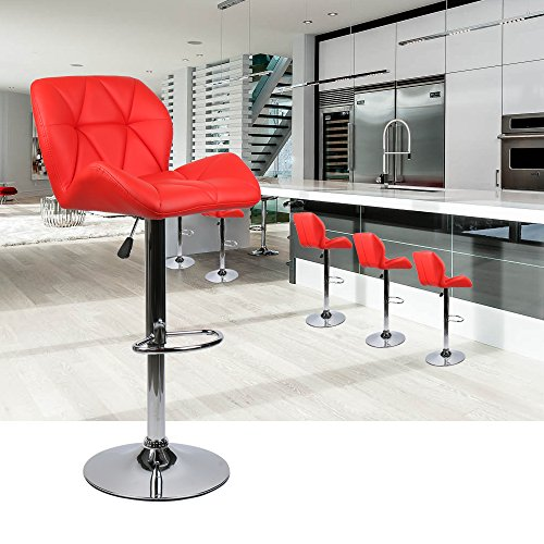 Elecwish Bar Stools Set of 2 White PU Leather Seat with Chrome Base Swivel Dining Chair Barstools (Red 2pcs) by Elecwish (Image #6)