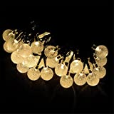 Solar Christmas String Lights,Afendes - 30 LED Ball 21ft Warm White 8Mode Waterproof Decorative Globe Light for Halloween,Indoor,Outdoor,Party,Wedding,Patio,Garden Decoration,Holiday,Xmas Tree,Bistro