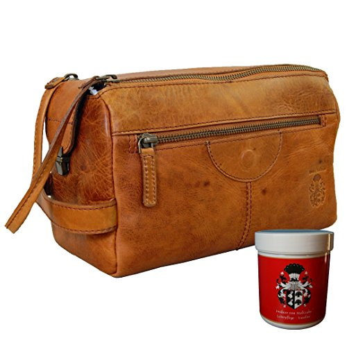 BARON of MALTZAHN Neccessaire Toiletry bag BOONE of brown Rodeo-leather + leather care by Baron of Maltzahn