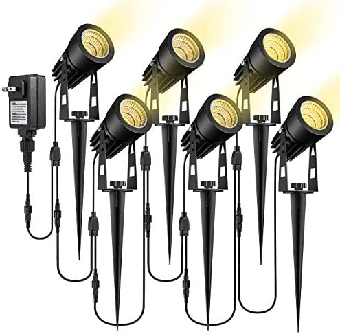 ECOWHO Low Voltage Landscape Lights, 12V Outdoor Landscape Lighting LED Spot Lights Plug in Waterproof Garden Lights for Flood Yard Path Extendable to 8 or 10 Lights, Upgrade 6 Pack, 68.9ft 21m