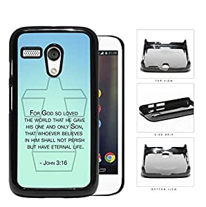 John 3:16 Bible Verse on Mint & Teal Background [Motorola (Moto G)] Hard Snap on Plastic Cell Phone Cover