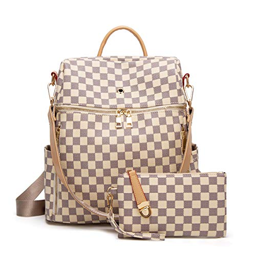 Logooo Women Backpack Purse Synthetic Leather Fashion Ladies Satchel Bags Casual Shoulder Bag 2pcs