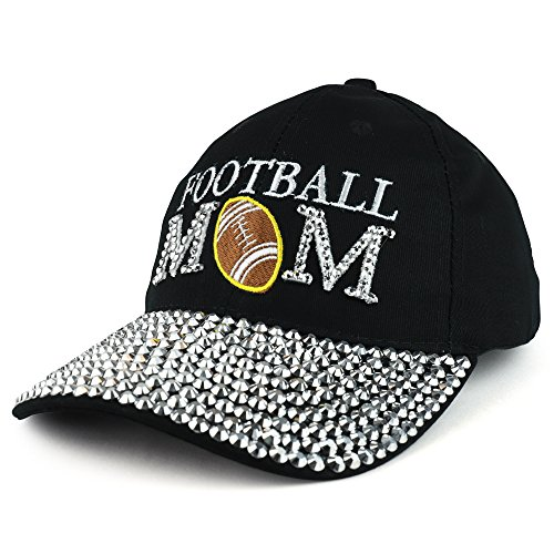 Football Jeweled (Trendy Apparel Shop Football MOM Embroidered and Stud Jeweled Bill Unstructured Baseball Cap - Black)