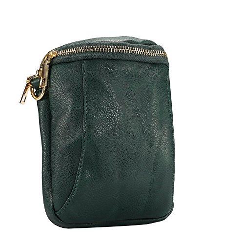 Purse Bag Multi Crossbody Green PU Pocket Functional Handbag Dark Leather OvPSZnxT