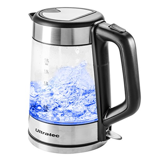 Ultratec LED Wasserkocher BlueVita100 - 2.200 Watt, 1.7 Liter, Edelstahl/Glas Wasserkocher