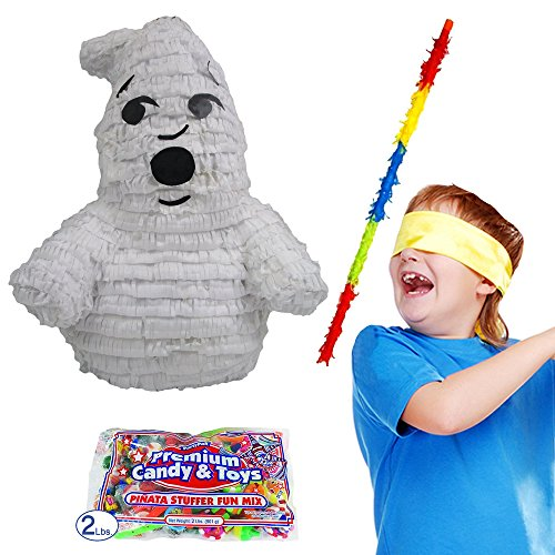 Friendly Ghost Pinata Kit for Halloween or Ghostbusters Party - Includes Pinata, Buster Stick, Bandana, 2 lb Candy Filler]()
