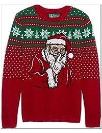 Ugly Christmas Sweater Company suéter Feo de Navidad para Hombre con Luces y Texto en inglés Don't Tell on Santa
