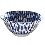 """Japanese rice bowl, Porcelain, lucky charm patterns """"Yabane"""" (arrow feathers), Blue and white pottery"""