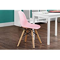 DHP Kids Molded Chair with Rounded Seat and Wood Legs, Mid Century Design, Pink