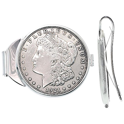 Sterling Silver Dollar Money Clip Spring Back with Morgan Dollar Coin 1878-1921 ()