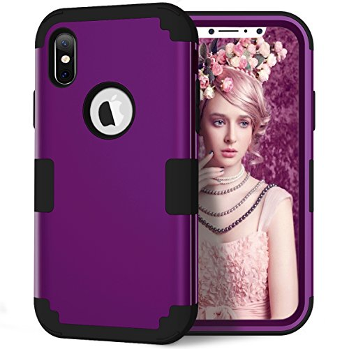 AOKER iPhone X Case, 3 in 1 Shockproof Hybrid Heavy Duty High Impact Hard Plastic +Soft Silicon Rubber Armor Defender Protective Case Cover for Apple iPhone X /iPhone 10 (5.8 Inch) (Purple Black) (Purple Otterbox Iphone 4)